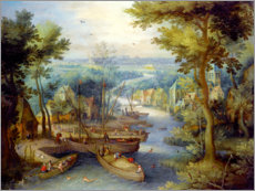 Poster Premium River landscape with bathing and boats