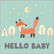 Stampa su plexi-alluminio  A little fox is standing in the forest - Kidz Collection