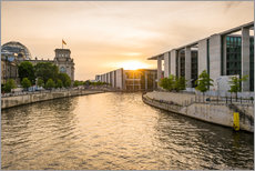 Adesivo murale  Sunset at the Reichstag in Berlin - Martin Wasilewski