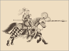 Stampa su plexi-alluminio  Knight with armor and horse