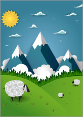 Adesivo murale  Paper landscape with sheep - Kidz Collection