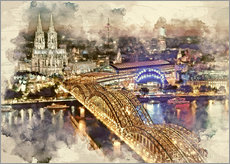 Adesivo murale  Cologne Skyline Cologne Cathedral - Peter Roder
