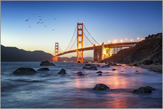 Stampa su plexi-alluminio  Golden Gate Bridge at sunset in San Francisco, USA - Jan Christopher Becke