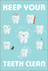 Adesivo murale  Keep your teeth clean - Kidz Collection