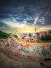 Adesivo murale  The famous park Guell in Barcelona