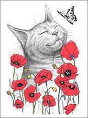 Stampa su plexi-alluminio  Cat in poppies - Nikita Korenkov