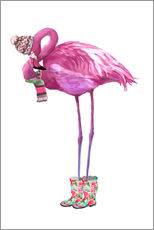 Adesivi murali  Pink flamingo with rubber boots - Kidz Collection