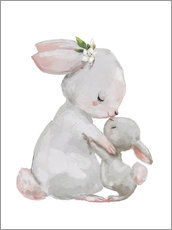Adesivi murali  Cute white bunnies - mother with child - Kidz Collection
