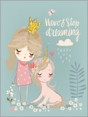 Stampa su vetro acrilico  Never stop dreaming - Kidz Collection