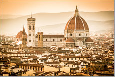 Adesivo murale Cityscape with Cathedral and Brunelleschi Dome, Florence