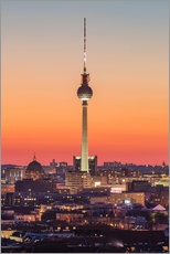 Poster Premium Berlin TV tower after sunset