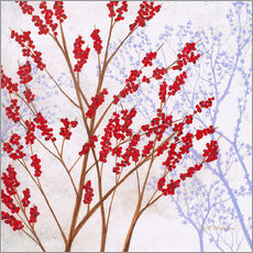 Stampa su legno  Red Berries - Herb Dickinson