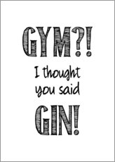 Poster  Gym o gin - Typobox