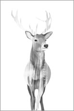 Stampa su alluminio  Deer (black and white) - Goed Blauw