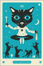 Legno  THE MAGICIAN TAROT CARD CAT - Jazzberry Blue