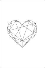 Poster Premium  Cuore geometrico nero - Pulse of Art