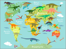 Stampa su vetro acrilico  Dinosaur Worldmap - Kidz Collection