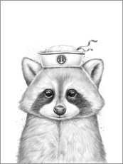 Poster Premium  Raccoon sailor - Nikita Korenkov