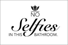 Stampa su legno  No selfies in this bathroom - Typobox