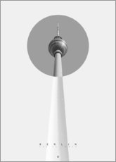 Poster Premium  Berlino - La torre della televisione - Black Sign Artwork