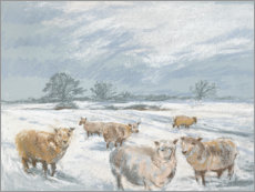Poster Winter Sheep Landscape