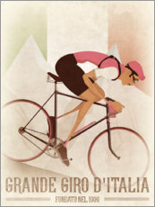 Poster Vintage Giro Style Downhill Cyclist