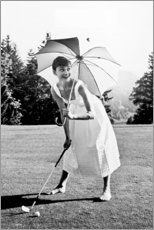 Stampa su tela  Audrey Hepburn al Golf - Celebrity Collection