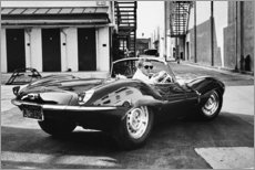 Stampa su schiuma dura  Steve McQueen in Jaguar - Celebrity Collection