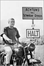 Stampa su vetro acrilico  Steve McQueen in La grande fuga - Celebrity Collection