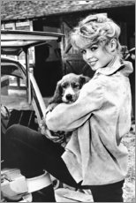 Stampa su tela  Brigitte Bardot con cucciolo - Celebrity Collection