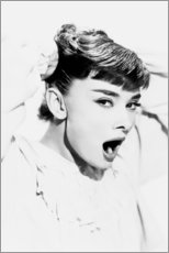 Poster Premium  Sbadigliando Audrey Hepburn - Celebrity Collection