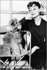 Poster Premium  Audrey Hepburn con cucciolo di cane - Celebrity Collection