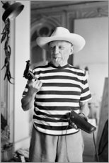 Stampa su legno  Picasso con una revolver - Celebrity Collection