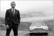 Stampa su plexi-alluminio  Daniel Craig nei panni di James Bond, bianco e nero - Celebrity Collection
