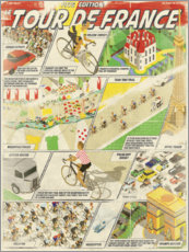 Poster Fumetto retrò tour de France (inglese)