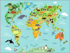 Stampa su tela  Mappa del mondo con animali (francese) - Kidz Collection