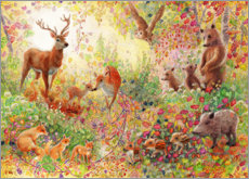 Poster Premium  Foresta incantata con animali - Heather Kilgour