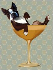 Stampa su tela  Boston Terrier in bicchiere da cocktail - Fab Funky