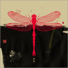Stampa su vetro acrilico  Big Red Dragonfly - Thoth Adan