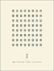 Poster Premium I Ching Chart With 64 Hexagrams (King Wen sequence)