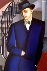 Stampa su alluminio  Portrait of the Marquis of Afflito on the staircase 1926 - Tamara de Lempicka