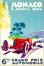Stampa su alluminio  Gran Premio di Monaco 1934 (francese) - Travel Collection