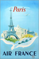 Stampa su tela  Parigi, Air France - Travel Collection