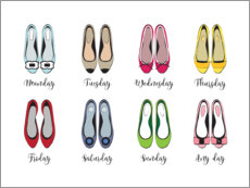 Poster Premium  Settimana di scarpe colorate (inglese) - Martina illustration