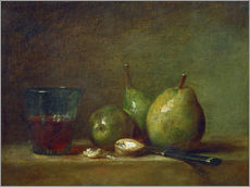Adesivo murale  Pears, nuts, and a cup of wine - Jean Simeon Chardin