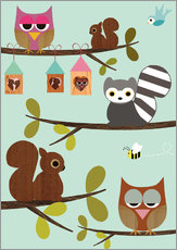 Adesivi murali  Happy Tree with cute animals - owls, squirrel, racoon - GreenNest