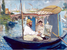 Adesivo murale  Monet painting on his studio boat - Edouard Manet