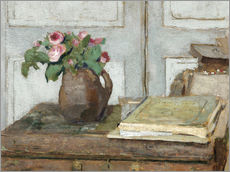 Stampa su plexi-alluminio  Still life with the artist painting set and a vase with moss roses - Edouard Vuillard