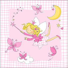 Stampa su plexi-alluminio  flying fairy with butterflies on checkered background - Fluffy Feelings