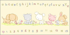 Adesivi murali baby pet animals with alphabet and numbers
